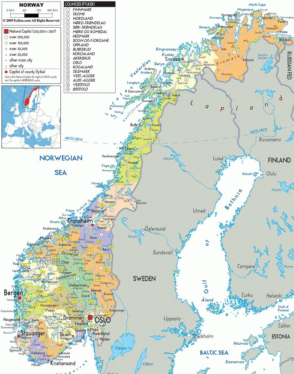 خريطة النرويج بالتفصيل