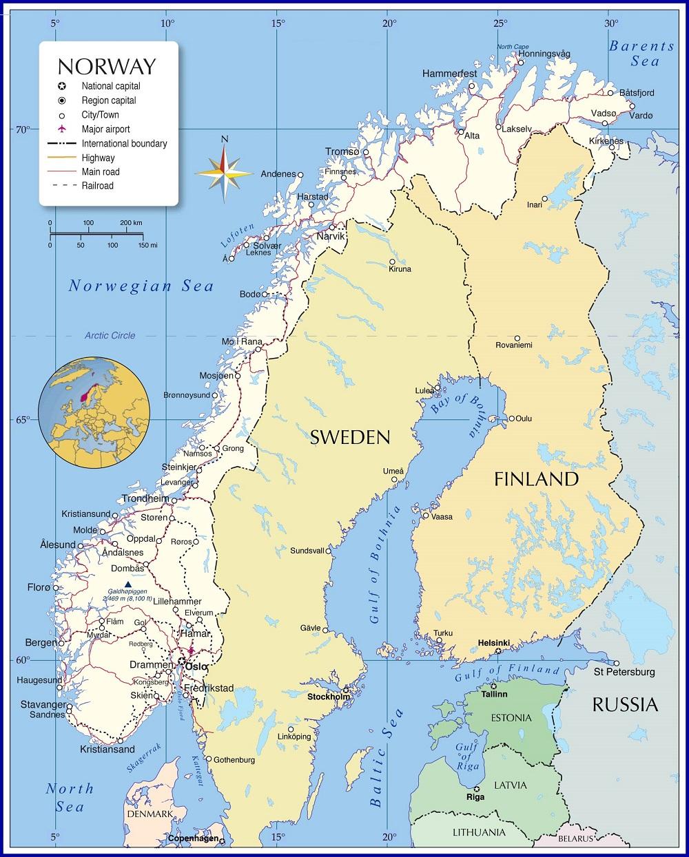 خريطة النرويج