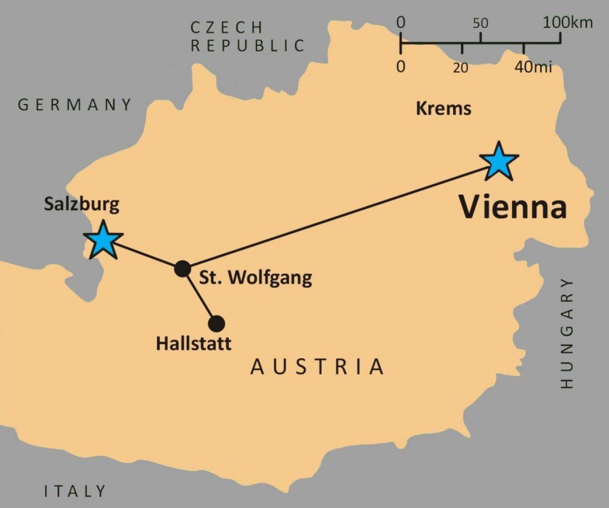خريطة النمسا والدول المجاورة لها بالعربي