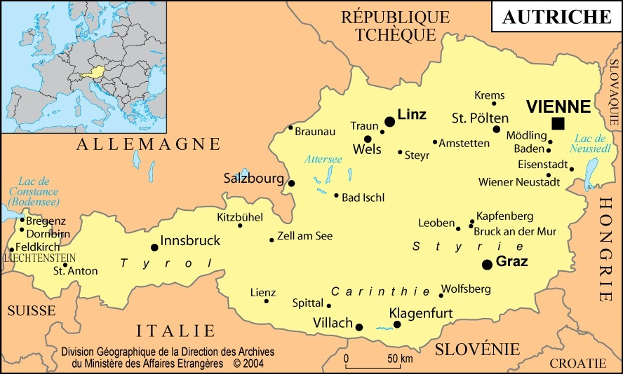خريطة النمسا وحدودها