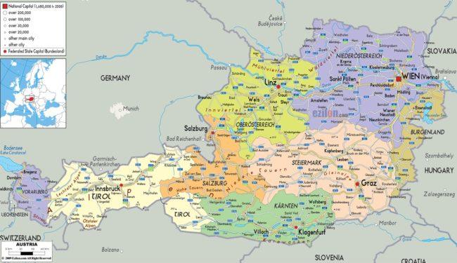 خريطة النمسا والدول المجاورة لها Archives ترافل دن
