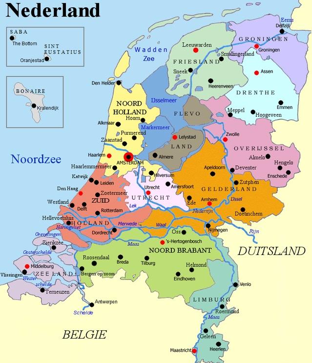 خريطة هولندا والدول المجاورة بالعربي